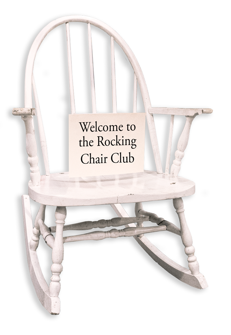 White Rocking Chair given to employees as a wedding gift in 1920's