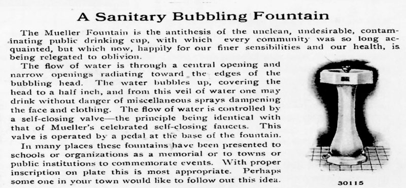 Mueller Bubbling Sanitary Drinking Fountain, patented in 1913